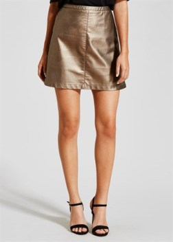 metallic-pu-mini-skirt